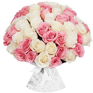 Букет из 51 белой и розовой Эквадорской розы