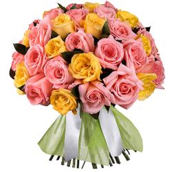 Букет из 51 розовой и желтой Эквадорской розы